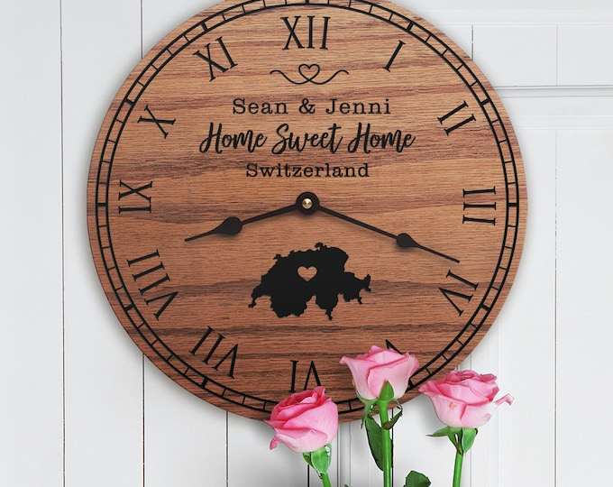Switzerland Housewarming Gift - Switzerland Decor - Switzerland Map - Custom Names - Home Sweet Home - New Home - Switzerland Home