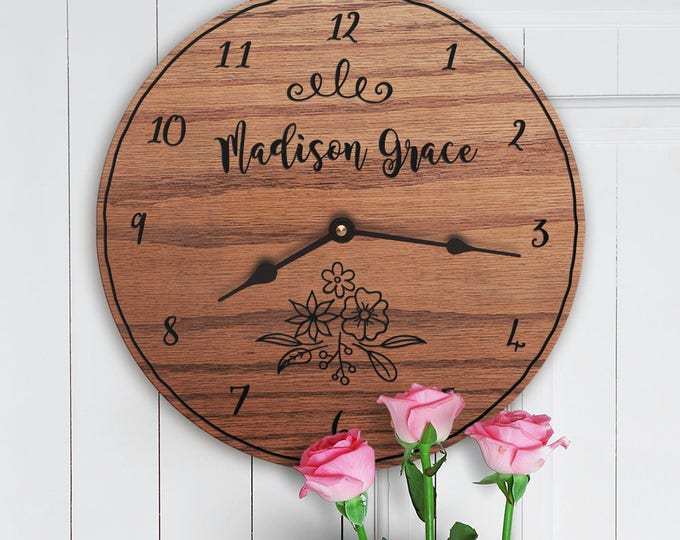 Personalized Baby Gift For Girl - Flower Clock - Nursery Gift -  Personalized Decor For Nursery - Custom Names for Nursery - Flower Dreams