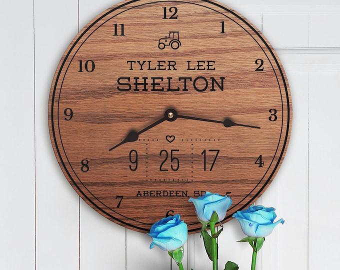 Personalized Gift for Newborn Boy - Custom Names in Wood - Engraved Boy Names - Birthplace City - Custom Newborn Boy - Tractor Adventure
