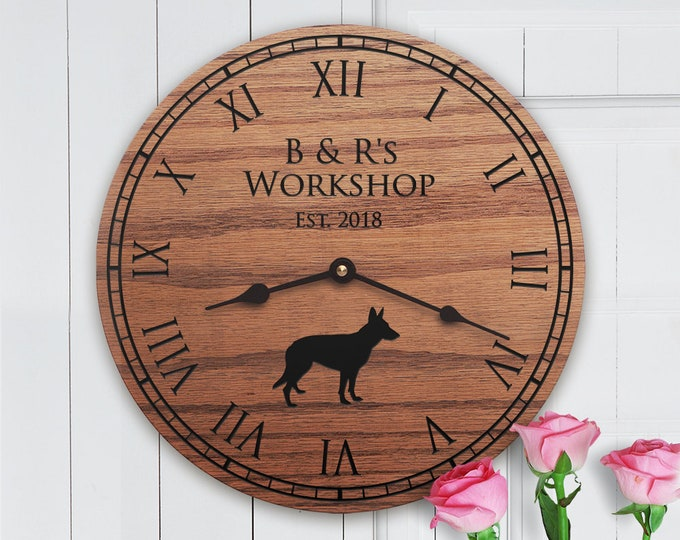 Funny Gifts for Workshop - Personalized Names and Dog - Woodworkers - Welder - Unique Workshop Gifts - Builder - Tinkerer - Shop Clock