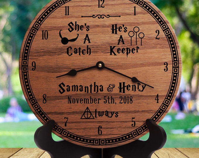 Personalized Wedding Gift for Harry Potter Fans - She's A Catch He's A Keeper - Quidditch - Custom Names - Always Logo - Harry Potter