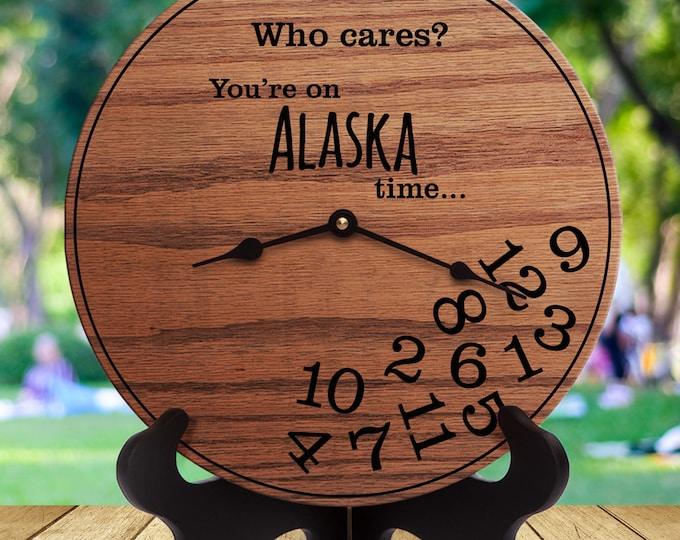 Funny Alaska Gifts - Gifts for People Who Live in Alaska - Gifts for Alaskans - Gifts for Alaska Funny - Alaska Gift - Alaska Time Clock