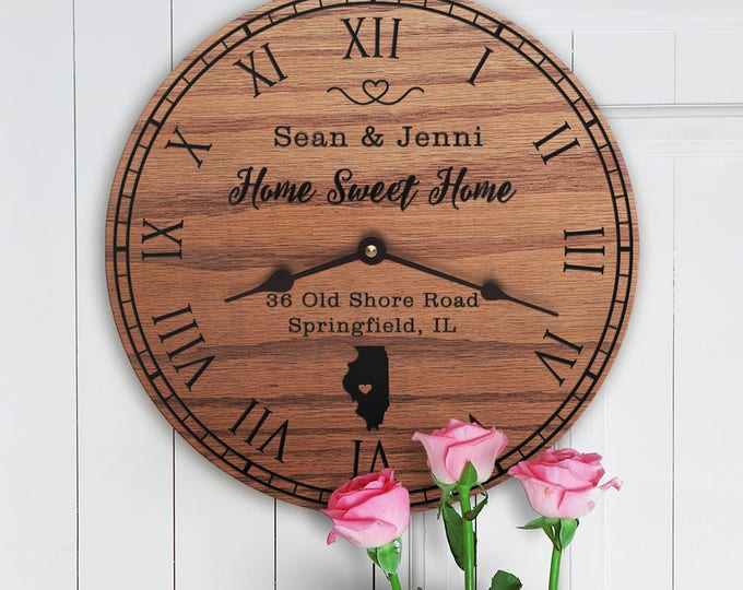 Illinois Housewarming Gift - New Home - State Map - Living in Illinois - Home IL - Land of Lincoln  - Home Sweet Home - Street Address