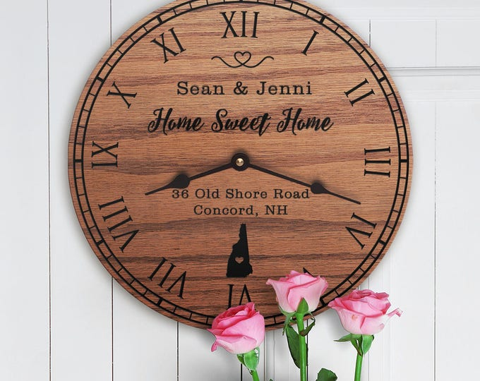 New Hampshire Housewarming Gift - New Home - State Map - Living in New Hampshire - Home NH - Granite State - Home Sweet Home Street Address