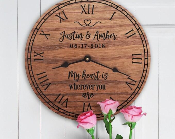 My Heart Is Wherever You Are - Wedding Gift - Anniversary Gift - Custom Names - Custom Date