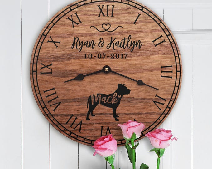 Gift for the Home of Couple with Pitbull Dog - Personalized Dog Gift - Family Dog Custom Names - Pitbull Dog Lovers - Pitbull Lovers