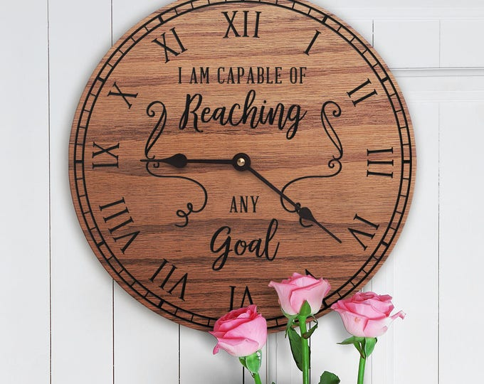 I Am Capable of Reaching Any Goal - Motivational Decor - Inspirational Decor - Encouraging Decor - Positive - Quotes on Joy - I Am Capable