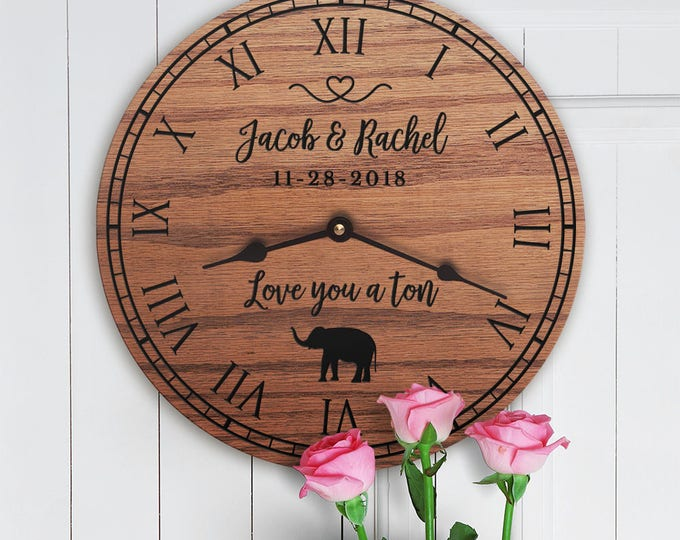 Personalized Elephant Decor Gift - Cute Elephant - Gift for Elephant Lovers - Safari Africa Decor - Wedding Gift for Home - Love You a Ton