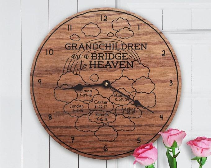 Grandchildren Are A Bridge To Heaven - Custom Grandkids Names - Personalized Grandkids - For Grandma - Grandchildren Bridge to Heaven