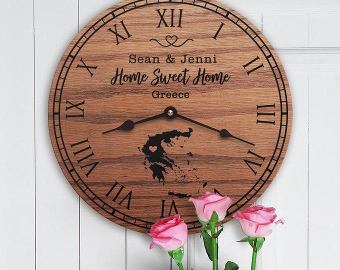 Greece Housewarming Gift - Greece Decor - Greece Map - Greece Custom - Home Sweet Home - New Home Gift - Greece Home