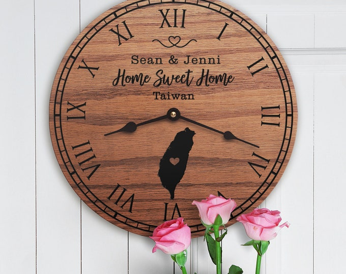 Taiwan Housewarming Gift - Taiwan Decor - Taiwan Map - Custom Names - Home Sweet Home - New Home - Taiwan Home
