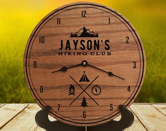 Gift for Outdoor - Mountain Climber - Outdoor Decor - Custom Date - Tent - Campfire - Mountain Decor - Hiking Trail Compass Clock