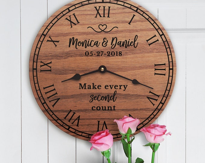 Make Every Second Count - Wedding Anniversary Gift - Custom Dates - Anniversary Poem - Custom Family Names - Make Every Second Count