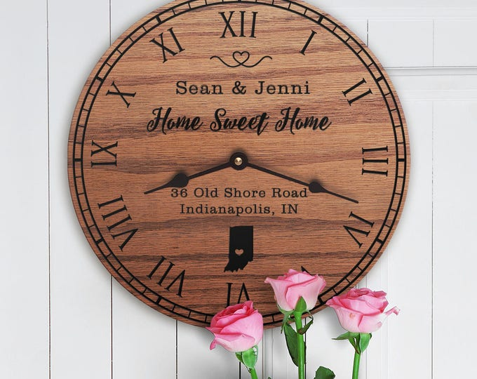 Indiana Housewarming Gift - New Home - State Map - Living in Indiana - Home IN - Hoosier State  - Home Sweet Home - Street Address