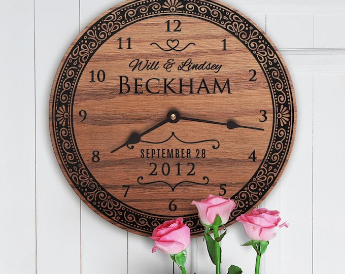 Newly Wed Couple Gifts for Her - Newly Wed Couple Gifts Custom Names - Personalize Gifts For Couple - Modern - Wooden - Veiled Union Clock