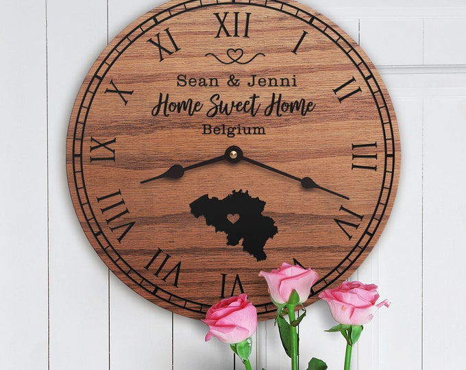 Belgium Housewarming Gift - New Home - State Map - Belgium Decor - Custom Names - Belgium Map - Home Sweet Home - Belgium Home