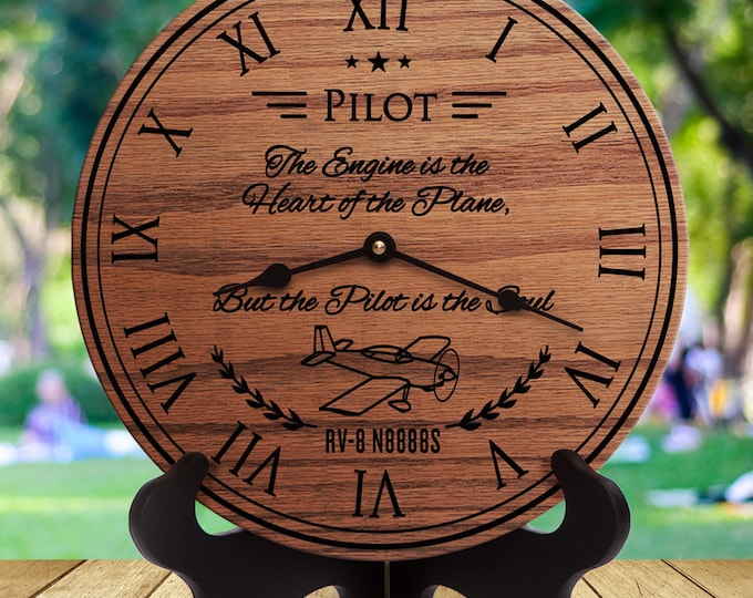 Personalized Gift for Pilot - The Engine is the Heart of the Plane But the Pilot is the Soul - Custom Names - Custom Dates