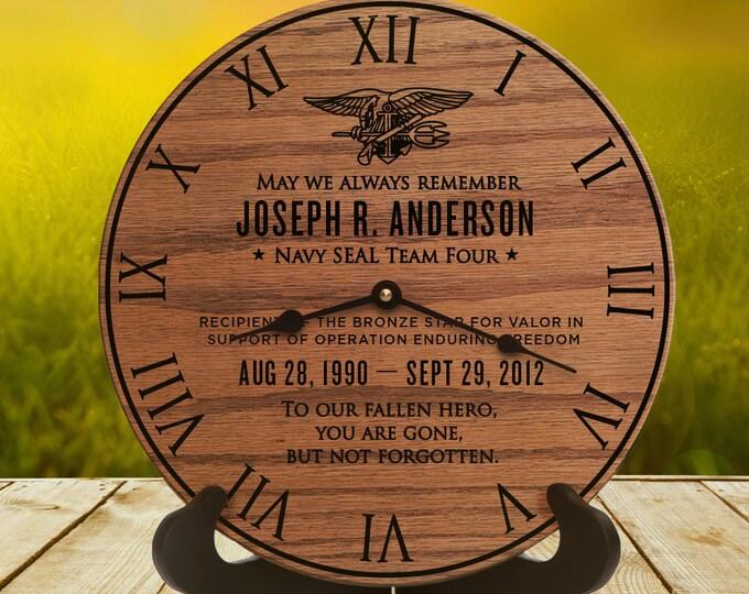 Veterans Memorial Gift - Military Veteran - Valor - Honor - Memorial - Military Medal - Purple Heart - Navy Seal Emblem - Military Memorial