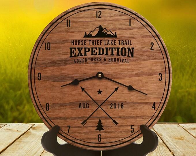 Gift for Outdoor - Mountain Climber - Outdoor Decor - Custom Date - Arrow Decor - Mountain Decor - Rock Climber - Hiking Trail Arrow Clock