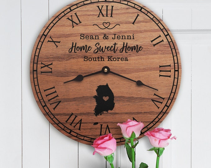 South Korea Housewarming Gift - South Korea Decor - Map - Custom Names - Canada - Home Sweet Home - New Home - South Korea Home