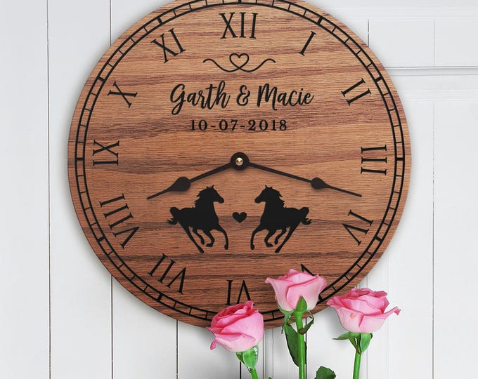 Personalized Horse Decor Gift - Cute Horses - Gift for Horse Lovers - Wedding Gift for Home - Horse Owners - For Cowboy Couple - Ranch
