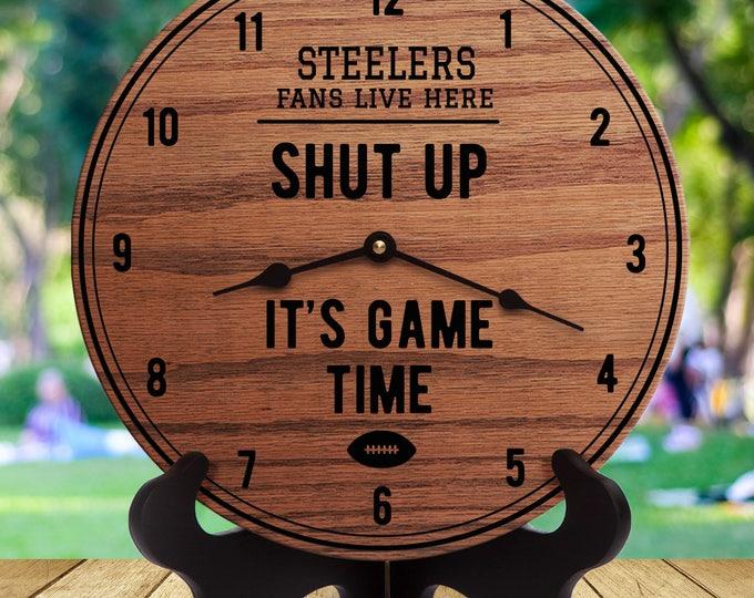 Steelers Fan - Shut Up It's Game Time - Sports Gifts - Gift For Sports Fans - Sports Room Decor - Sports Are On - For Men - Football