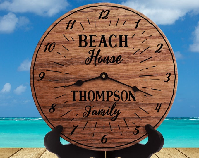 Custom Beach House Clock - Personalized Beach Clock - Beach Shack - Chalet - Cabana - Shanty - Bungalow - Custom Names - Beach House Gift