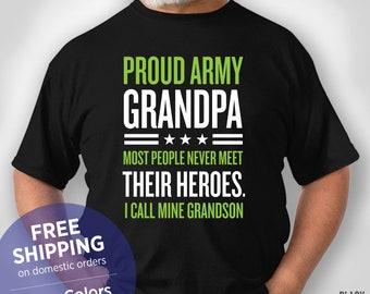 e2fb3fe9 Proud Army Grandpa - Grandpa Tshirt - Funny Shirt - Grandpa Birthday Gift -  Grandpa Christmas Gift