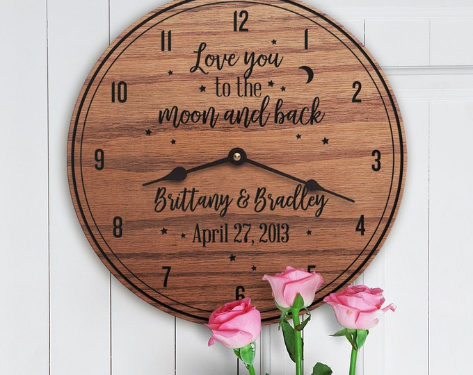 Love You To The Moon And Back - Wedding Gift - Custom Dates - Custom Names - Couples Names - Anniversary Gift - To The Moon And Back (Stars)