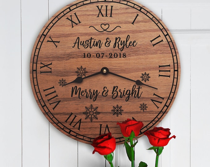 Merry and Bright - Personalized Christmas Decor - Christmas Gift For Couple - Christmas Gift for Family - Custom Names Dates