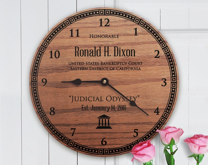 Gifts for Judges Office - Gifts for Judges Courtroom - Gift for Judge - Personalized and Unique Laser Engraved Clock - Judge Gift Clock