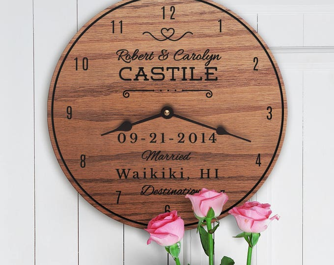 Destination Wedding Gift - Custom Wedding Gift for Destination - Wedding with Dates and Names - Destination Wedding Anniversary Clock