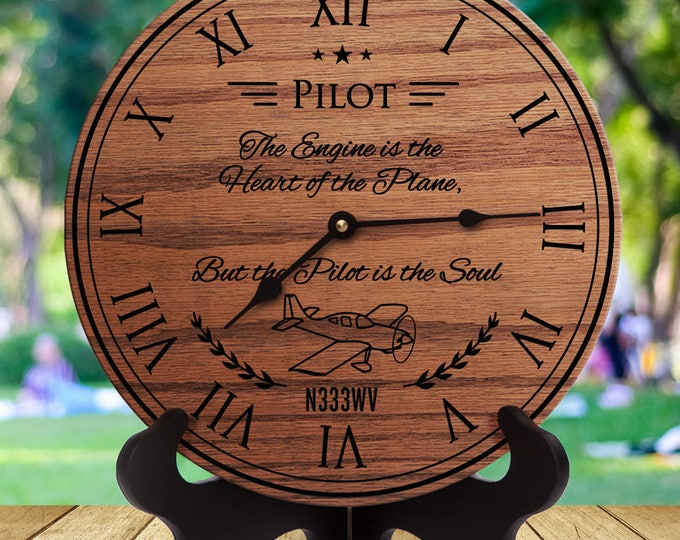 Personalized Gift for Pilot - N333WV - The Engine is the Heart of the Plane But the Pilot is the Soul - Custom Names - Custom Dates
