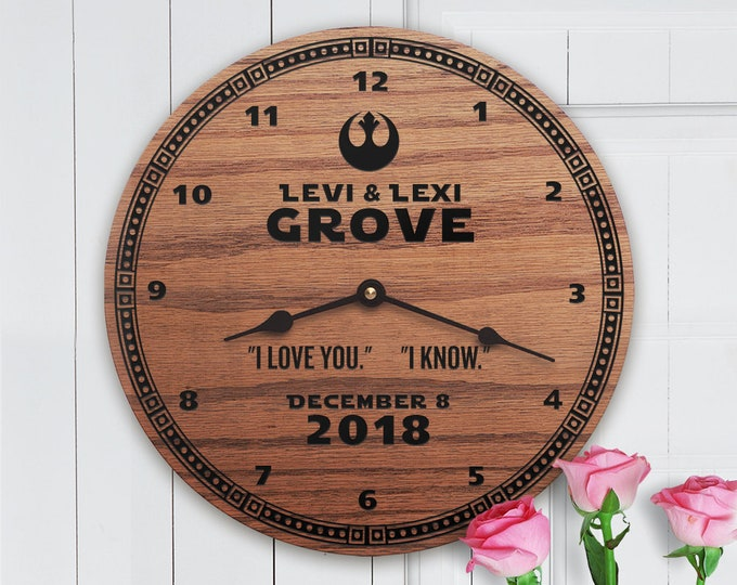 Personalized Wedding Gift for Star Wars Fans - I Love You I Know - Name in Wood - Custom Names - Unique - Star Wars I Love You