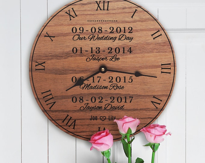Family Dates Custom - Important Dates - Kids Birth dates - Children's Birthdays - Custom Dates with Names - Special Family Dates Clock