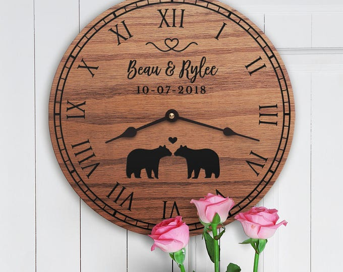 Personalized Bear Decor Gift - Mama Bear Decor - Gift for the Home of Outdoorsy Couple - Personalized Bear Gift - Cute Bears - Kissing Bears