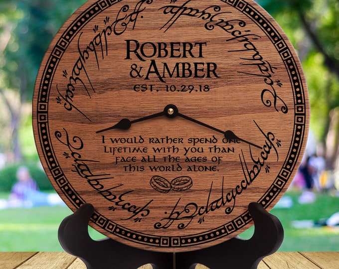 Lord Of The Rings Gift - Couple Wedding - Couple Anniversary - Custom Name Date - Personalized Wedding - LOTR Arwen/Aragorn - I Would Rather