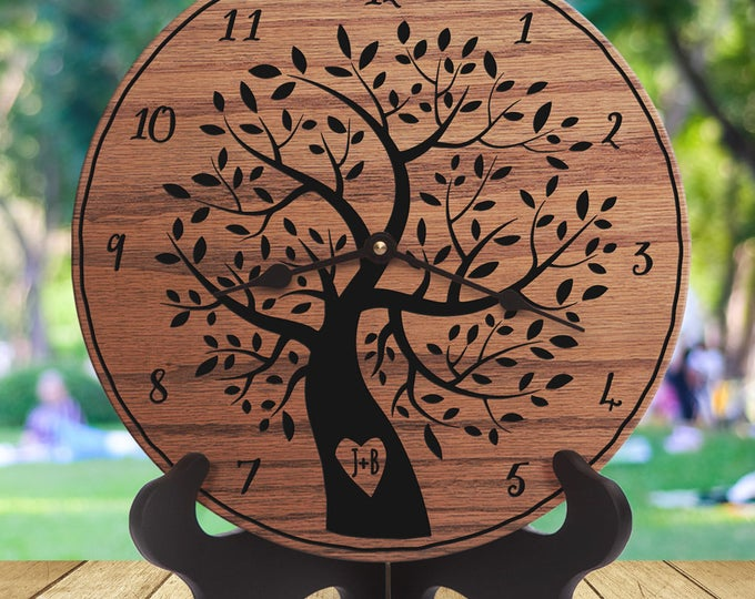 Carved Initials in Tree Decor - Personalized Couples Initials - Custom Initials in Heart - Housewarming Couples Gift - Heart Tree