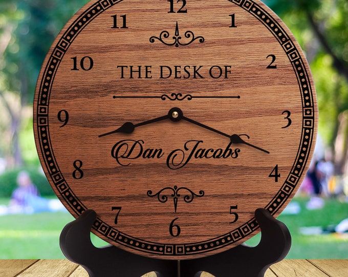 Wooden Clocks - Personalized Wood Clock for Desk - Gift for CEO - Gift for Manager - Gift for Director - Gift for Boss Guy - Coworker Gift