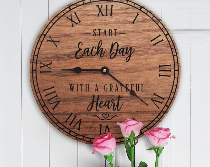Start Each Day With a Grateful Heart - Encouraging Decor - Gratitude Quote - Thankful Decor - Contentment Decor - Simplicity -Grateful Heart