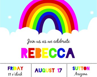 Rainbow Party Invitation - Digital Copy