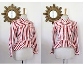 GAULTIER, Jean Paul Gaultier junior denim jacket with striped red and white jeans from the years 1980 peplum jacket slim fit