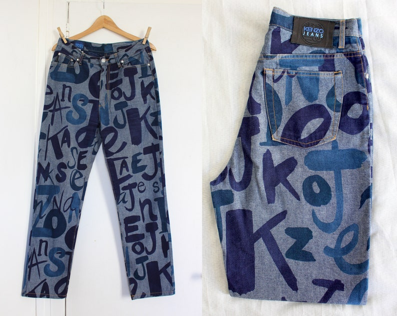 5f2e15f43 KENZO pants Kenzo Jeans vintage blue cotton patterned 90s letter s, in  Italy, US 31 Fr 40, Uk 12, Usa 8 M medium