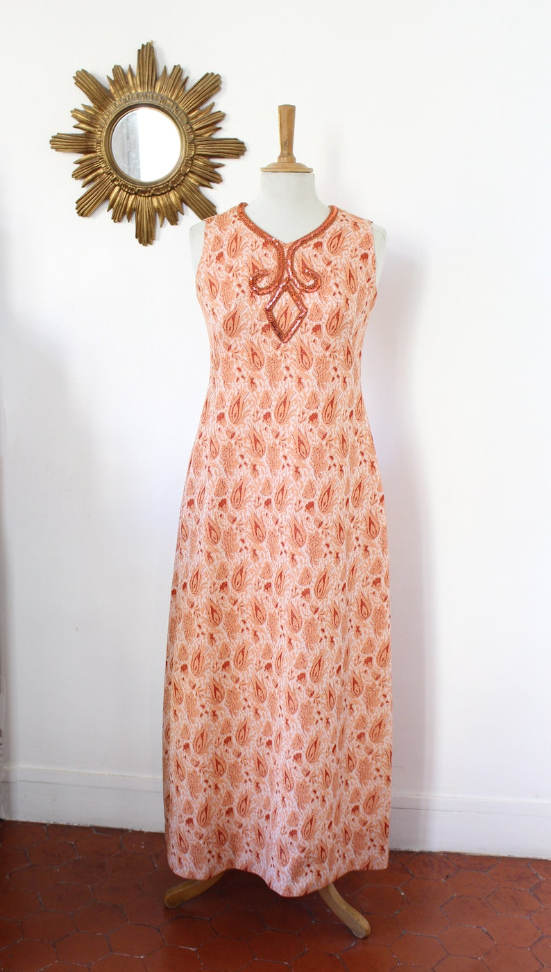 Vintage 60/'s vintage evening dress without sleeves in metallic bright orange with sequin bead and embroidered ribbon