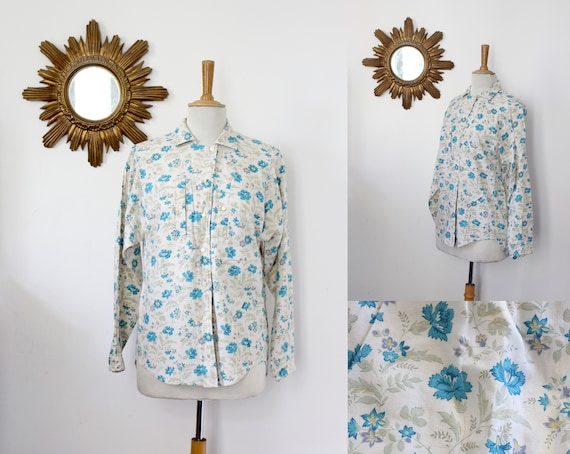CACHAREL blouse with flowers vintage CACHAREL cott