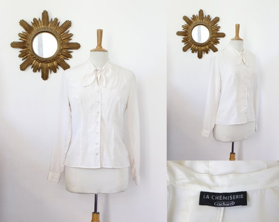 CACHAREL, vintage curved blouse CACHAREL the white