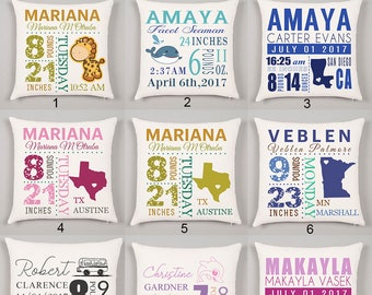 Personalized Baby Pillow Personalized Baby Gift Birth Announcement Pillow Baby Stats Pillow Personalized Pillow Cover Gift for New Mom