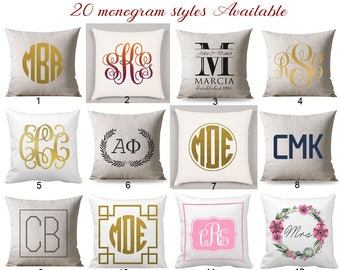Monogram pillow cover, Custom Monogrammed Pillow Case, Monogram Cushion Cover, Monogram Throw Pillow, Personalize Wedding Gift For Couple