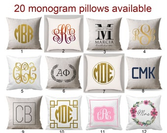 Personalized Monogrammed pillow, Monogram Pillow personalized, Cushion Black Monogram, wedding gift, personalized gift, cushion cover