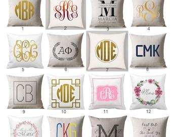 monogram pillow etsy